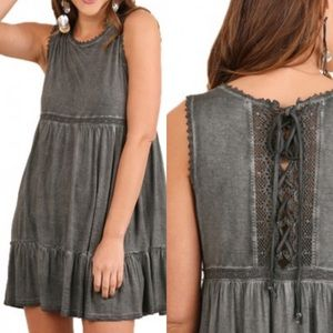 Umgee Gray Washed Sleeveless Dress